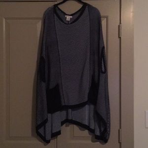 Navy and blue pocketed poncho